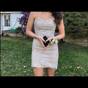 Sherri Hill  Short Silver Dress